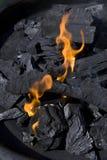 Flammes et charbon d'incendie Photographie stock libre de droits