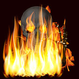 Flammes et crâne Photos stock
