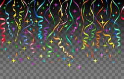 Flammes et fond transparent de confettis illustration de vecteur