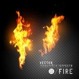 Flammes réalistes du feu de vecteur Photos libres de droits