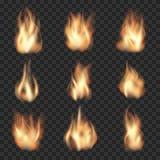 Flammes réalistes du feu de vecteur sur à carreaux Photographie stock