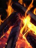 Flammes s'enlaçant autour du bois Image stock