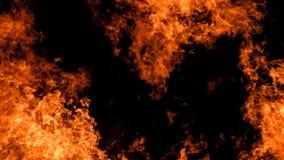 Flammes sur le noir Image libre de droits