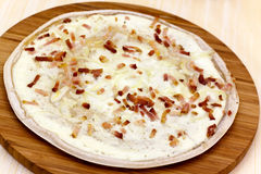 Flammkuchen - Tarte Flambee,with backon,onion Stock Image