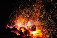 Flammor av en brasa Royaltyfria Foton