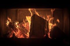 Flammor i en spis Fotografering för Bildbyråer