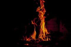 Flammor i spis Royaltyfri Fotografi