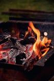 Flammor på grillfestgallret arkivbilder