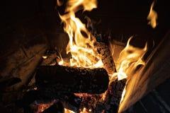 Flammor på trä i spis royaltyfri fotografi