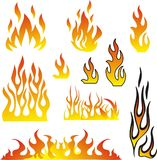 Flammor ställde in vektorn Fotografering för Bildbyråer