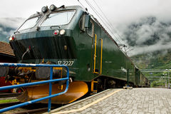 Flamsbana in Norway. Railway of flam in the mountains of Norway Royalty Free Stock Images
