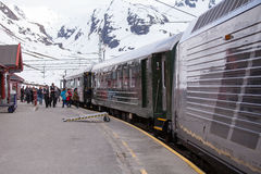 Flamsbana train at Myrdal, Aurland, Norway Stock Images