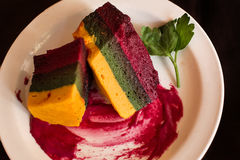 Flan Andean corn vegetables, chard and red beetroot Stock Photos