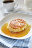 Flan. With caramel on a plate Stock Photography