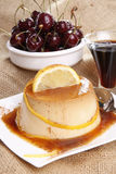 Flan and cherries