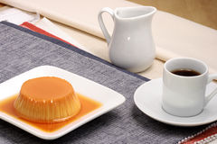 Flan and coffee Royalty Free Stock Photo