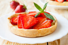 Flan with cream and strawberries, pie Stock Photo