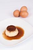 Flan de huevo. Traditional Spanish pudding Royalty Free Stock Images