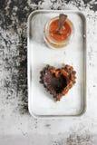 Flan del cioccolato con caramello salato Fotografia Stock Libera da Diritti