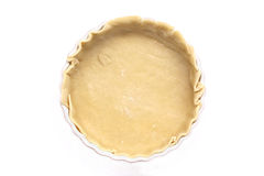 Flan dish with pastry base. Flan dish with raw pastry base before being filled to be cooked Stock Images