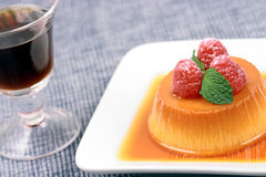 Flan gourmet fine dessert. Sweet flavorful perfectly carefully made exquisite flan dessert Stock Photo