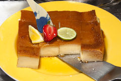 Flan un dessert délicieux de caramel de crème Photographie stock libre de droits