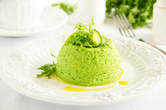 Flan-zucchini cake. With salad Royalty Free Stock Image