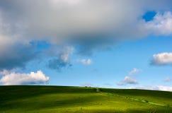Flanc de coteau herbeux et cloudscape magnifique d'après-midi Photographie stock libre de droits