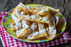 Flancat. Crisp deep fried pastry dusted with powdered sugar. traditional Slovenian food Stock Image