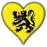 Flanders button flag heart shape. Flanders button flag 3d made Stock Photos