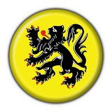 Flanders button flag round shape. Flanders button flag 3d made Stock Images