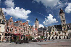 Flanders. Typical Flemish market square in the city of Dendermonde Royalty Free Stock Images