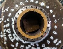 Flange connection, welded to the pressure vessel working under pressure, oil and gas. Manufacturing in Thailand royalty free stock image