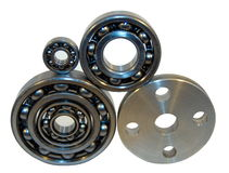 Flange and four bearings. Of the different size from stainless steel Stock Image