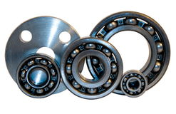 Flange and four bearings. Of the different size from stainless steel Royalty Free Stock Photography