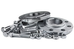 Flange screws and nuts Stock Photo