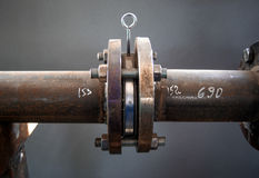 Flanged connection on pipe Royalty Free Stock Photos