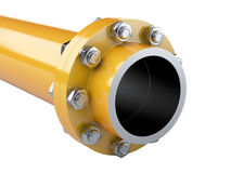 Flanges gas pipe with nuts and bolts. Pipeline in oil and gas in Stock Photos