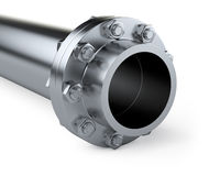 Flanges pipe with nuts and bolts. Pipeline in oil and gas indust Stock Photos