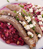 Flank Steak with Beet Salad Royalty Free Stock Images