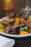 Flank steak salad. With mandarin oranges royalty free stock image