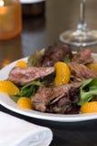 Flank steak salad. With mandarin oranges royalty free stock photo