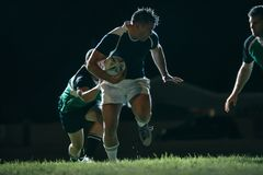 Flanker with ball tackling during game. Flanker running with ball and tackling opponents during game. Rugby match in action royalty free stock image