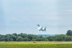 Flanker-E бойца Su-35 русского плоский Стоковые Фотографии RF