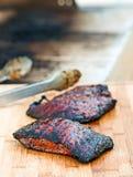 Flankowy stek - Piec na grillu Obrazy Royalty Free