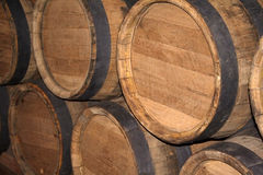 Flanks. Wine cellar. In flanks there is a cognac. Flanks oak royalty free stock photo
