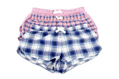 Flannel Pajamas Shorts Isolated on White Stock Photography