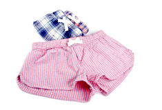 Flannel Pajamas Shorts Isolated on White Royalty Free Stock Photo
