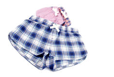 Flannel Pajamas Shorts Isolated on White Stock Image