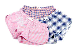 Flannel Pajamas Shorts Isolated on White Royalty Free Stock Photos
